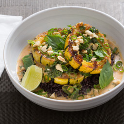 Delicata Squash Red Currywith Black Rice and Thai Basil