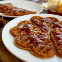 Delicious and Low-Caloric Pumpkin Waffles Topped with Homemade Prickly Pear