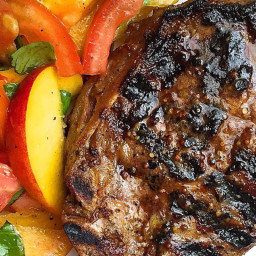 Dijon Grilled Pork Chops with Tomato-Peach Salad