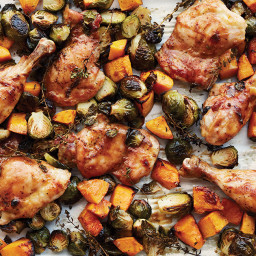 Dijon-Maple Chicken with Brussels Sprouts and Butternut Squash
