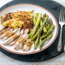 Dijon Pork Chops with Crispy Potato Cakes and Asparagus