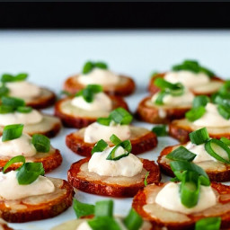 Dining with the Doc: Cheesy Sweet Potato Coins with Chipotle Crema
