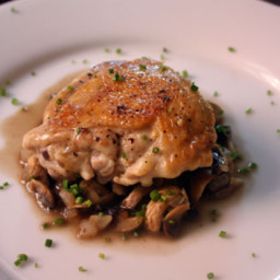 Dinner Tonight: Jacques Pepin's Crusty Chicken with Mushrooms and White Win