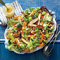 Dixie Chicken Salad with Grapes, Honey, Almonds and Broccoli