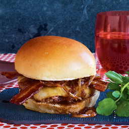 Double-Bacon Burgers with Maple-Worcestershire Onions