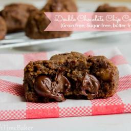 Double Chocolate Chip Cookies { Grain free, Sugar free, butter free, Vegan