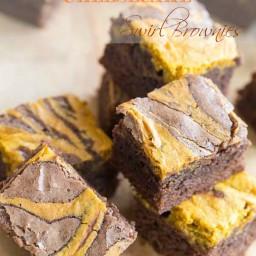 Double Chocolate Pumpkin Cheesecake Swirl Brownies