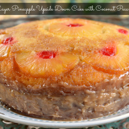 Double Layer Pineapple Upside Down Cake with Coconut Pecan Frosting