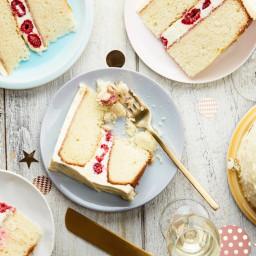 Double-Layer Vanilla-Buttermilk Cake With Raspberries and Orange Cream-Chee