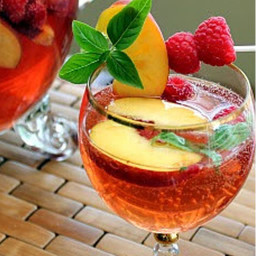 Drink - Peach, Strawberry & Basil Summer Sangria