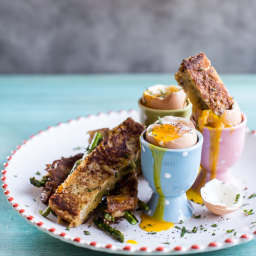 Drippy Eggs with Asparagus French Toast Grilled Cheese Soldiers