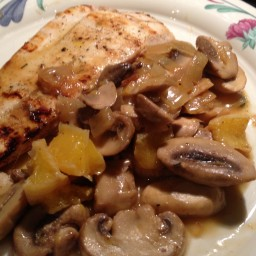 Drunkin Sautéed Mushrooms Over Grilled Halibut