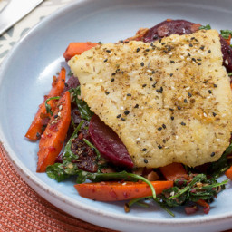 Dukkah-Spiced Codwith Warm Beet, Carrot and Arugula Salad
