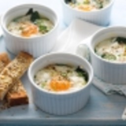 Dukkah baked eggs with toast soldiers