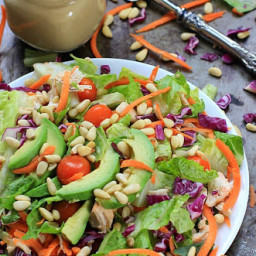 Easy 7-Ingredient Rainbow Rotisserie Chicken Salad w/ Avocado and Honey Mus