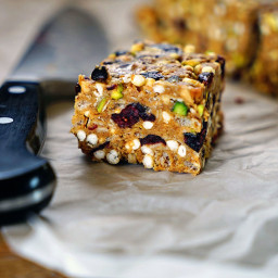 Easy Almond Butter, Pistachio, Cranberry No-Bake Granola Squares