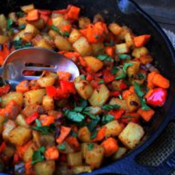 Easy Bacon, Pepper and Mixed Potato Hash