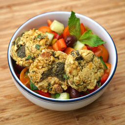 Easy Baked Falafel with Fresh Greek Salad