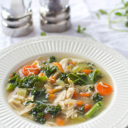 Easy Chicken and Kale Vegetable Soup {Paleo, Gluten Free, Dairy Free, Low C