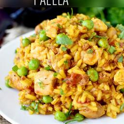 Easy Chicken, Chorizo and Shrimp Paella