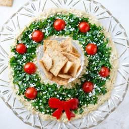 Easy Christmas Appetizer Hummus Wreath