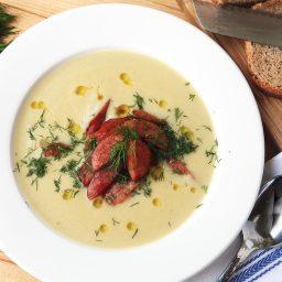 Easy Creamy Potato, Leek, and Sauerkraut Soup