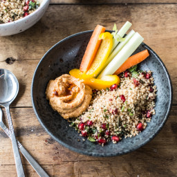 Easy Desk Lunch I : Red Lentil-Harissa Hummus and Herbed Couscous (Vegan, G