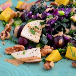 Easy Mango and Grape Kale Salad with Cashew Glaze {gluten-free, dairy-free,