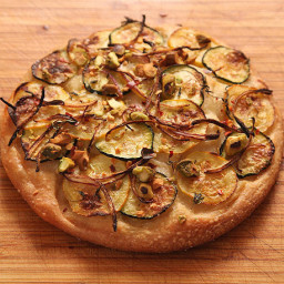 Easy Pan Pizza With Zucchini, Red Onion, and Pistachios (Vegan)