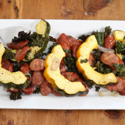 Easy Sheet Pan Dinner with Sausage, Kale and Squash