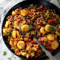 Easy Shrimp Wild Rice Skillet