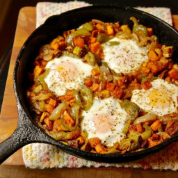Easy Sweet Potato and Pepper Hash With Eggs Recipe