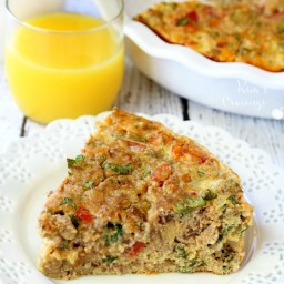 Easy Breakfast Casserole with Turkey Sausage, Kale and Tomatoes