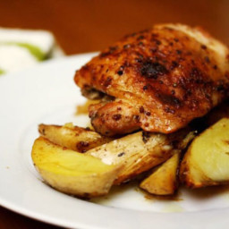 Eat for Eight Bucks: Maple-Mustard Baked Chicken Thighs with Potato Wedges