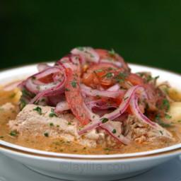 Ecuadorian Encebollado tuna fish soup with pickled onions