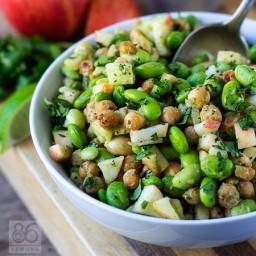 Edamame Chickpea Power Salad with Avocado-Lime Dressing (vegan, gf)
