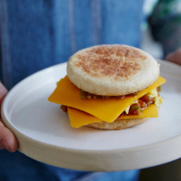 Egg-and-Cheese Sandwiches with Scallion-Tomato Sauce