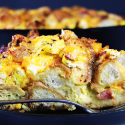 Egg Bacon and Cheese Bagel Bake