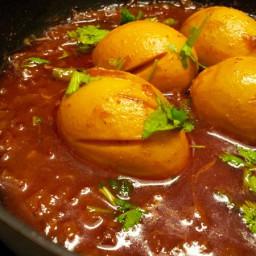 Egg curry with tamarind gravy-Andhra style Kodiguddu Pulsu