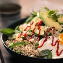 Egg & Edamame Brown Rice Bowl