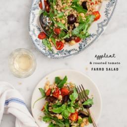 Eggplant and Roasted Tomato Farro Salad
