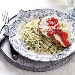 Eggplant Parmesan with Parsley Orzo