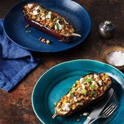 Eggplant with Lentils and Goat Cheese