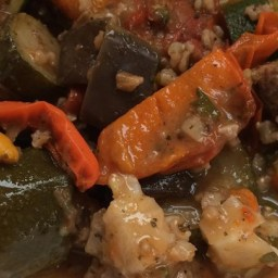 Eggplant, Zucchini and Sweet Red Pepper Stew