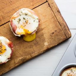 Eggs Baked in Crispy Prosciutto Baskets