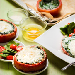 Eggs Florentine in Tomato Cups