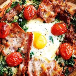 Eggs Florentine pizzas