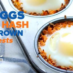 Eggs in Hash Brown Nests