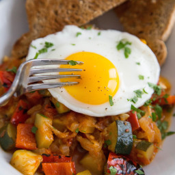 Eggs with Summer Tomatoes, Zucchini, and Bell Peppers