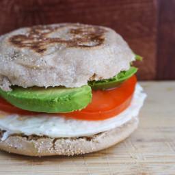 Egg White, Tomato, & Avocado Breakfast Sandwich